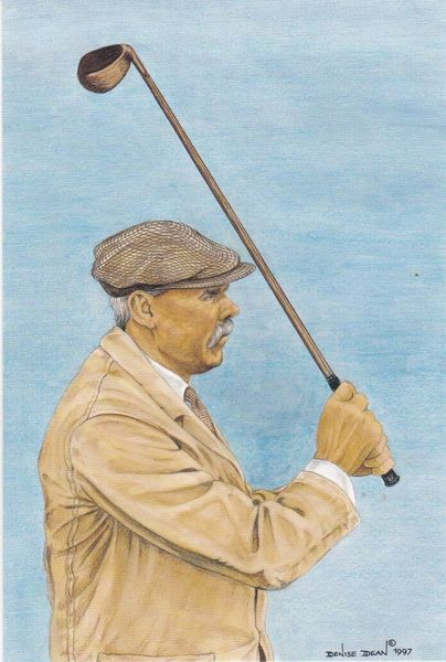 print of golfer James Braid winner of the 50th Open Championship St. Andrews 1910 by Denise Dean 1997 with statistics