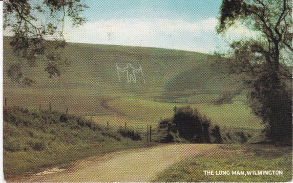 Post Card Sussex WILMINGTON The Long Man Salmon
