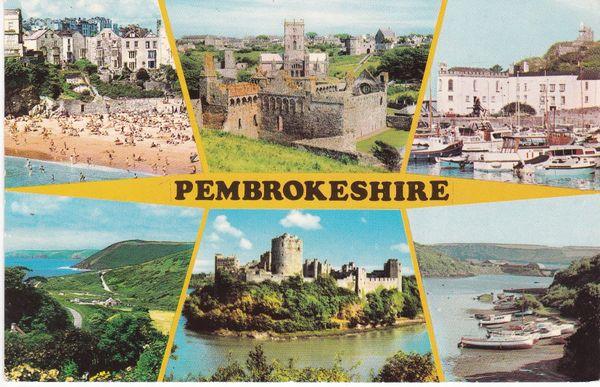 Post Card WALES Pembrokeshire 6 views Dragon Publishing Ltd. PLC23828