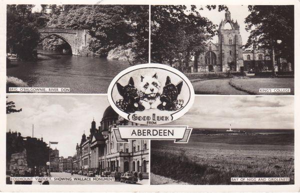 Post Card Aberdeen Good Luck 4 views M and L Ltd.
