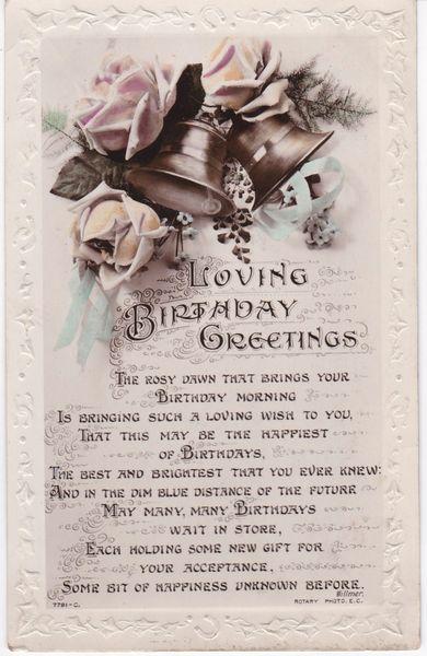 Post Card Greetings - Birthday Loving Birthday Greetings