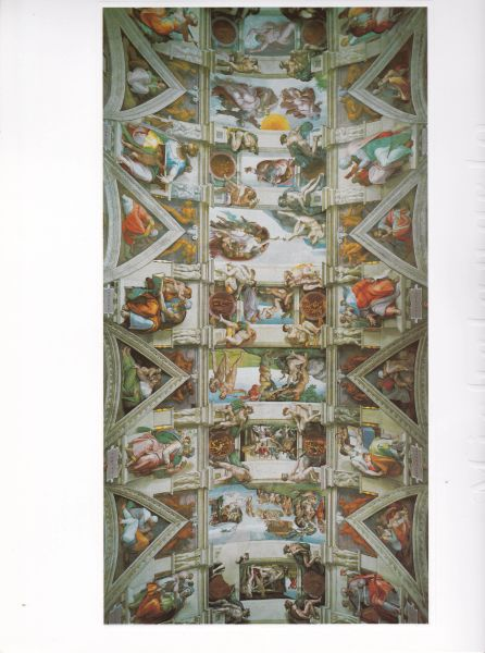 MICHELANGELO coloured unframed print of the Sistine Chapels Vault 1994 Italian