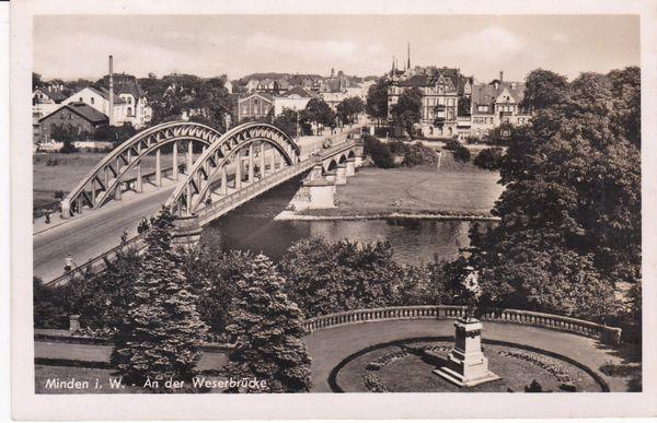 Postcard Germany North Rhine / Westphalia Minden An der Weserbrucke