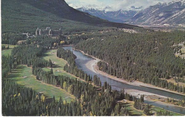 Post Card Canada Alberta Canadian Rockies Banff Springs Hotel Golf Course and Bow River