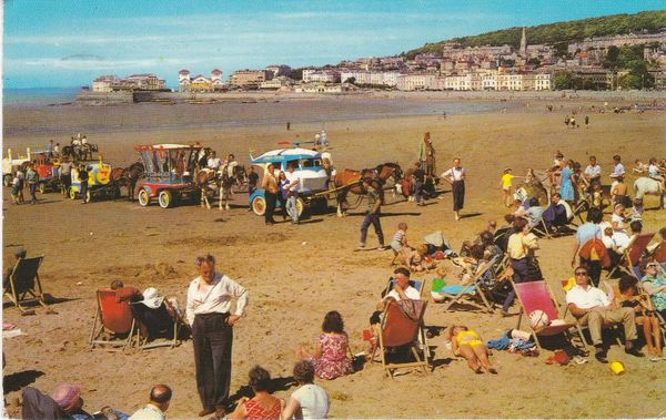 Postcard Somerset WESTON-SUPER-MARE The Sands and Knightstone