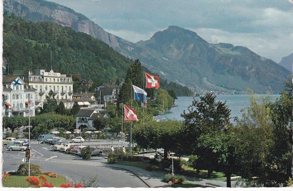 Post Card Switzerland Weggis Kurort (Health Resort) mit Rigi