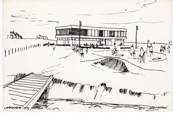 Post Card Angus Carnoustie sketch by Ken Lochhead