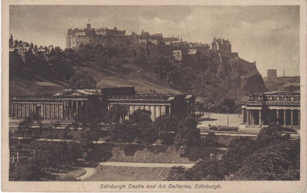 Post Card Scotland Edinburgh Castle and Art Galleries