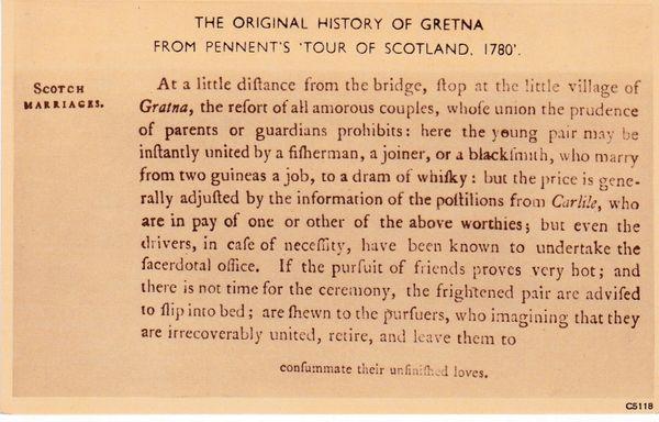 Post Card Scotland Dumfries GRETNA GREEN The Original History of Gretna