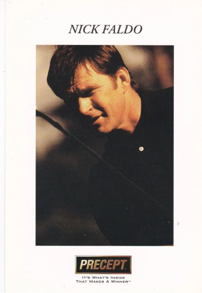 print of golfer Nick Faldo (unsigned) with Precept logo