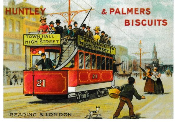 Post Card Advertising Victorian Tram Series HUNTLEY & PALMER BISCUITS Robert Opie Collection O1VT01ROGS8