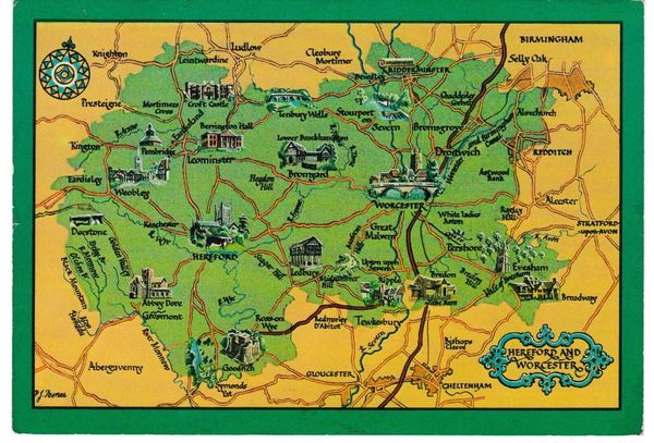 Post Card illustrated map Hereford and Worcester A Salmon Watercolour 72-32-00-02
