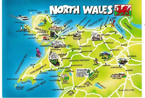 Post Card illustrated map NORTH WALES Judges C21027