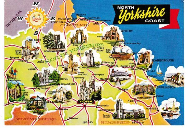 Post Card illustrated map North Yorkshire Coast Dennis