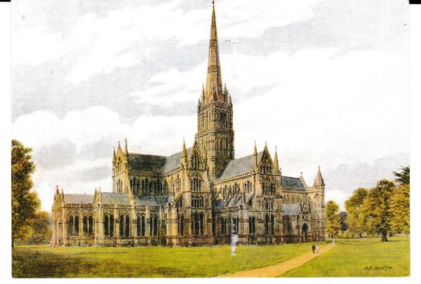 Post Card Wiltshire Salisbury Cathedral Salmon Watercolour