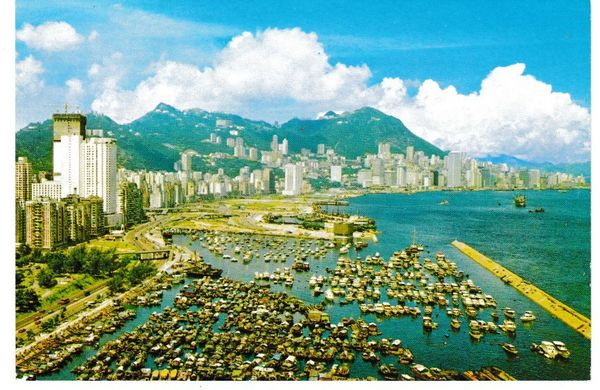 Post Card Asia Hong Kong Victoria looking down from East District