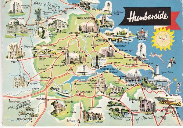 PostcardIllustrated Map Humberside Dennis Productions