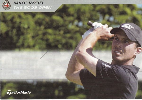 golfer Mike Weir (unsigned) with TaylorMade logo and statistics