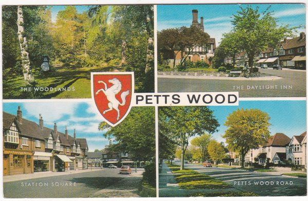 Postcard Kent Petts Wood 4 views