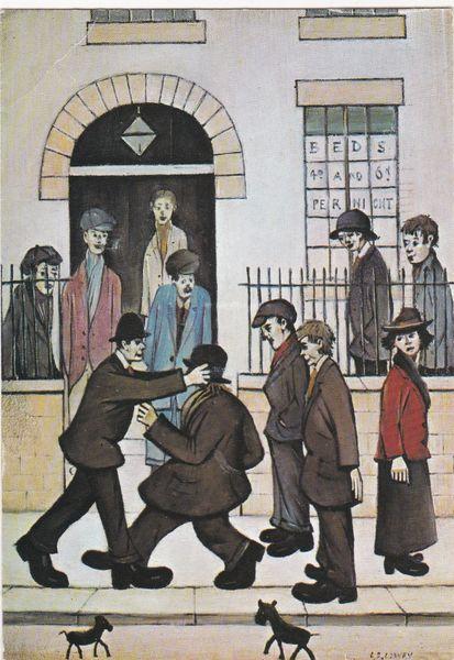 Postcard Art L S Lowry A Fight