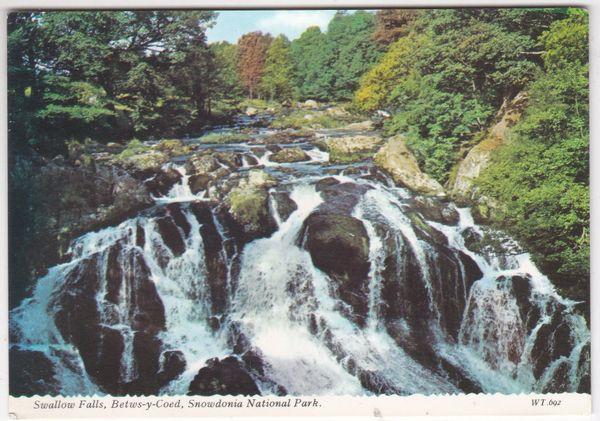 Postcard Wales Carnarvon Betws-y-Coed Swallow Falls