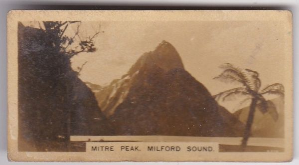 Cigarette Card Westminster : New Zealand (First Series) No. 7 Mitre Peak Milford Sound