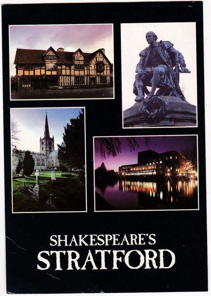 Postcard Warwickshire Stratford-upon-Avon Shakespeare's Stratford 4 views
