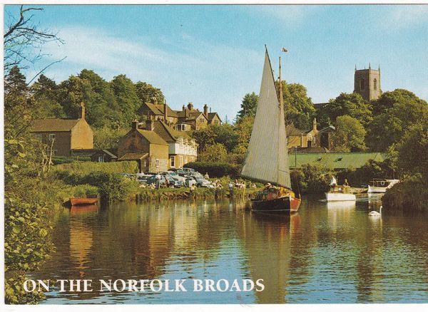 Postcard Norfolk On the Norfolk Broads River Bure at Belaugh