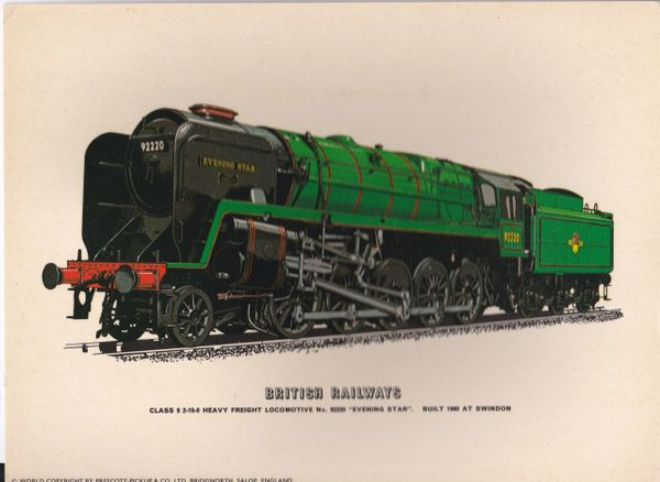 "Prescott-Pickup Railway print BRITISH RAILWAYS No. 92220 ""Evening Star"""