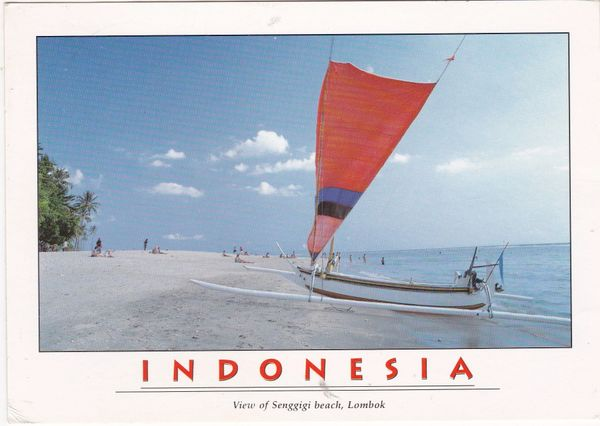Postcard Asia Indonesia Lombok Sengiggi Beach
