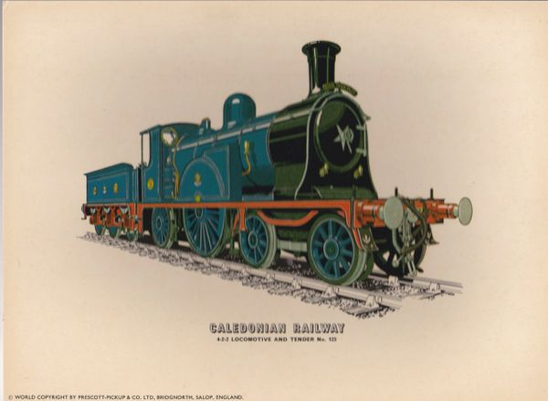 Prescott-Pickup Railway print CALEDONIAN RAILWAY Locomotive and Tender No. 123