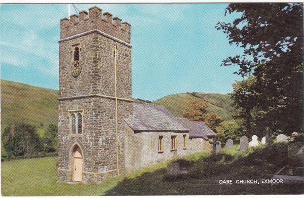 Postcard Somerset Oare Church scene of Lorna Doone