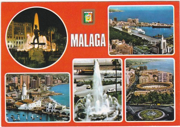Postcard Spain Costa del Sol Malaga 5 views