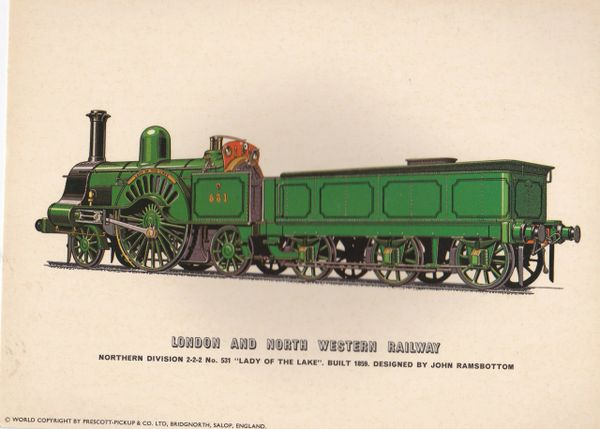 "Prescott-Pickup Railway print LNWR No. 531 ""Lady of the Lake"""