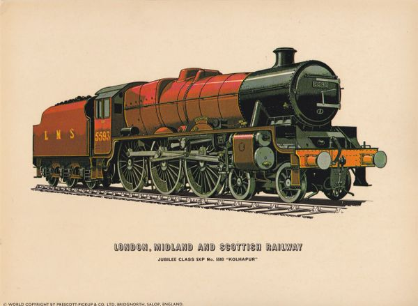 Prescott-Pickup Railway print LONDON, MIDLAND AND SCOTTISH RAILWAY Jubilee Class