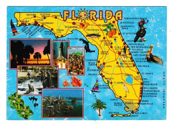 Postcard Pictorial Map Florida