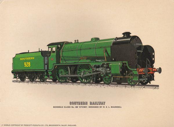 "Prescott-Pickup Railway print SOUTHERN RAILWAY SCHOOLS CLASS No. 928 ""STOWE"""