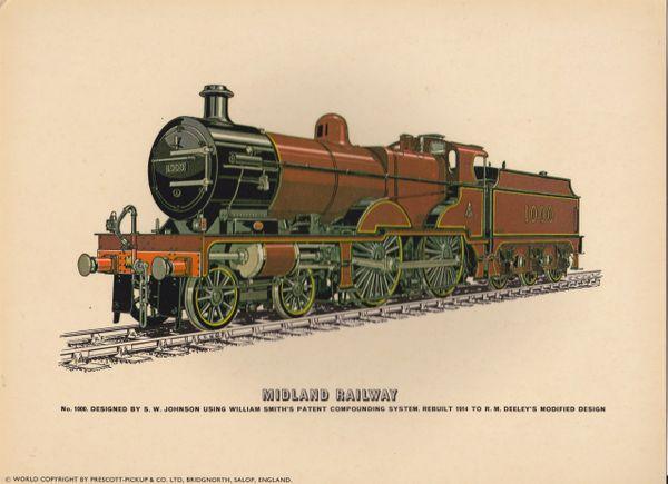 Prescott-Pickup Railway print MIDLAND RAILWAY No.1000