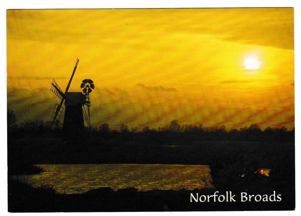 Postcard Norfolk Broads Sunset at How Hill Mill, River Ant