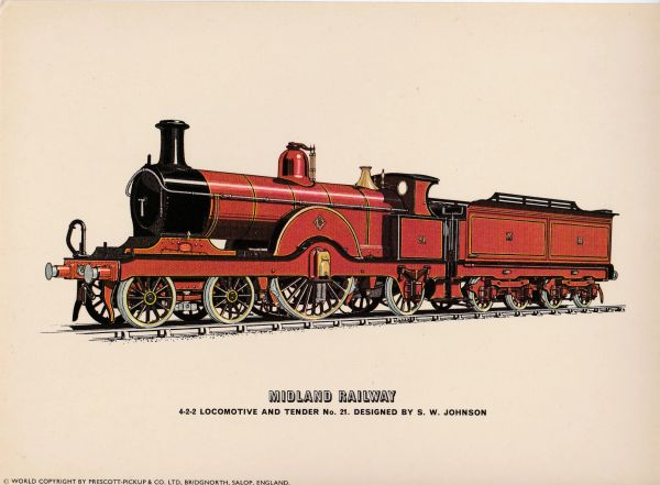 Prescott-Pickup Railway print MIDLAND RAILWAY Locomotive and Tender No. 21