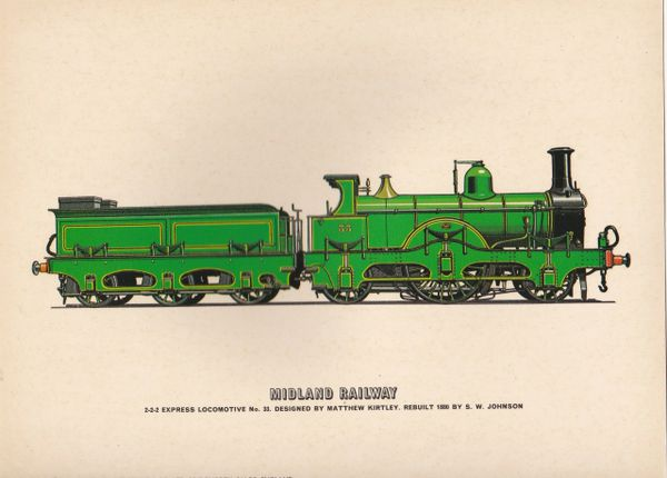 Prescott-Pickup Railway print MIDLAND RAILWAY 2-2-2 Express Locomotive No. 33