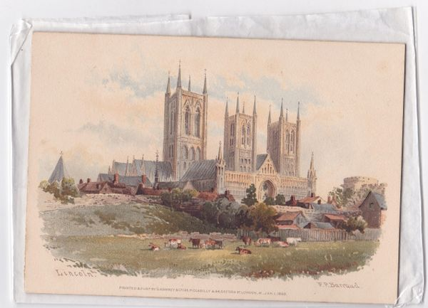 F P Barraud 187 x 132mm Print of watercolour painting of LINCOLN on card