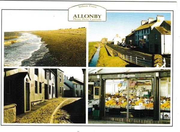 Postcard Cumbria Allonby 4 views