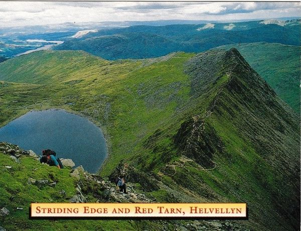 Postcard Cumbria Lake District Helvellyn Striding Edge Red Tarn