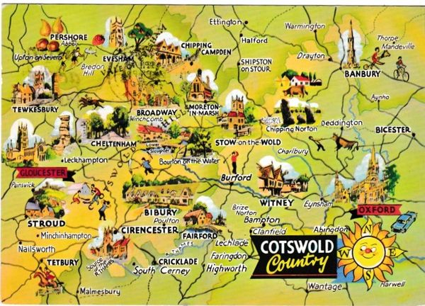 Postcard map Cotswold Country Dennis Productions