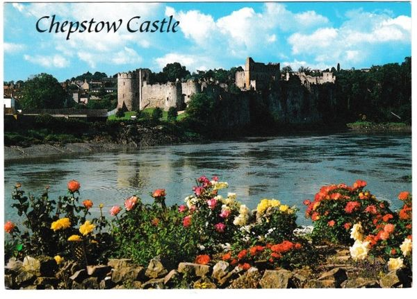 Postcard Wales Chepstow Castle from the River Wye