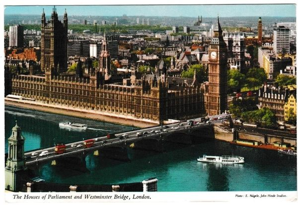 Postcard London The Houses of Parliament and Westminster Bridge