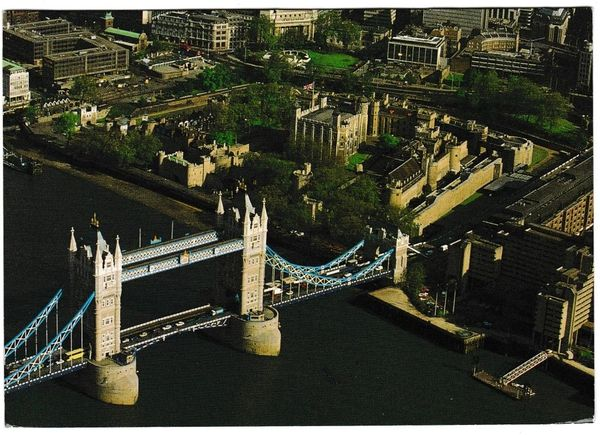 Postcard London The Tower of London and Tower Bridge Aerial View