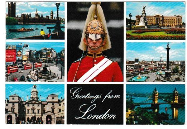 Postcard London Greetings from London 7 views