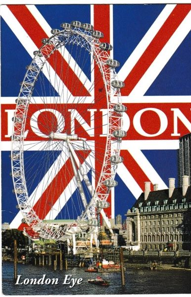 Postcard London Eye Union Jack